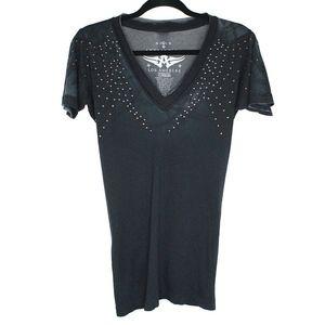 Affliction Short Sleeve V Neck Studded T-Shirt